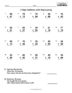 Computation Addition Regrouping math worksheets