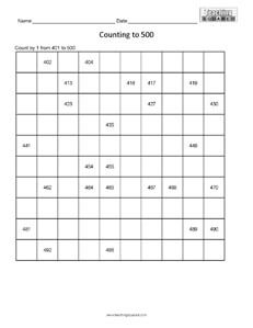 Counting Table to 500- Easy math worksheets teaching
