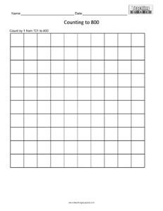 Counting Table to 800 math worksheets