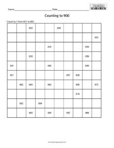 Counting Table to 900- Easy math worksheets teaching