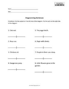 sentence diagramming worksheets   teaching squaredsentence diagramming  subject and verb
