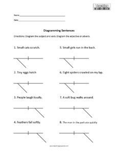 sentence diagramming worksheets   teaching squaredsentence diagramming  modifiers