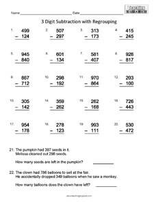 math worksheet : math worksheets 3 digit subtraction with regrouping  worksheets  : Three Digit Subtraction With Regrouping Worksheet