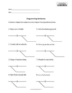 sentence diagramming worksheets   teaching squaredsentence diagramming  prepositional phrases and modifiers