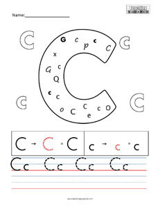 Letter C Practice teaching Worksheet