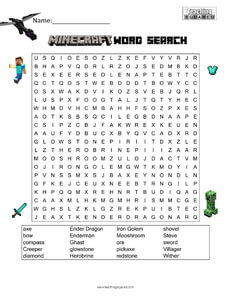 Minecraft Large Word Search – A word search puzzle finding Minecraft ...
