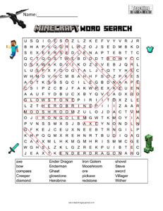 Minecraft Word Search - Teaching Squared