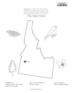 fun Idaho United States coloring page for kids