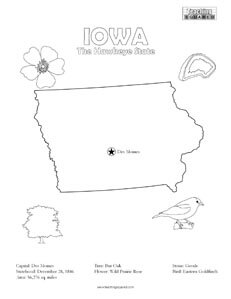 fun Iowa United States coloring page for kids