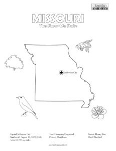 fun Missouri United States coloring page for kids