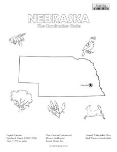 fun Nebraska United States coloring page for kids