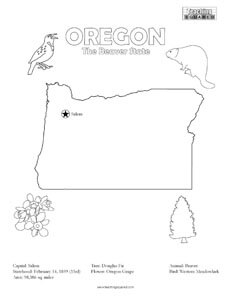 fun Oregon United States coloring page for kids