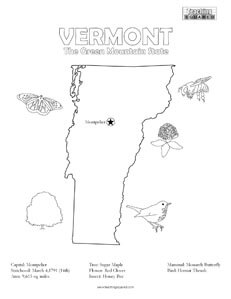 fun Vermont United States coloring page for kids