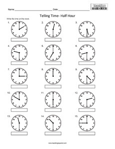 Telling Time to the nearest half hour clock worksheets