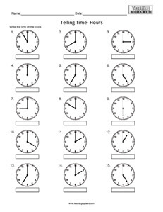 Telling Time to the nearest hour clock worksheets