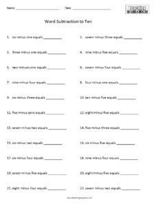 Subtracting with words to 10 math worksheets teaching